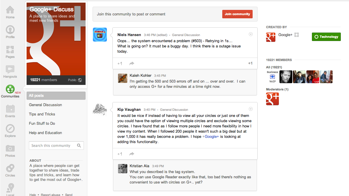 Google Plus Community Page