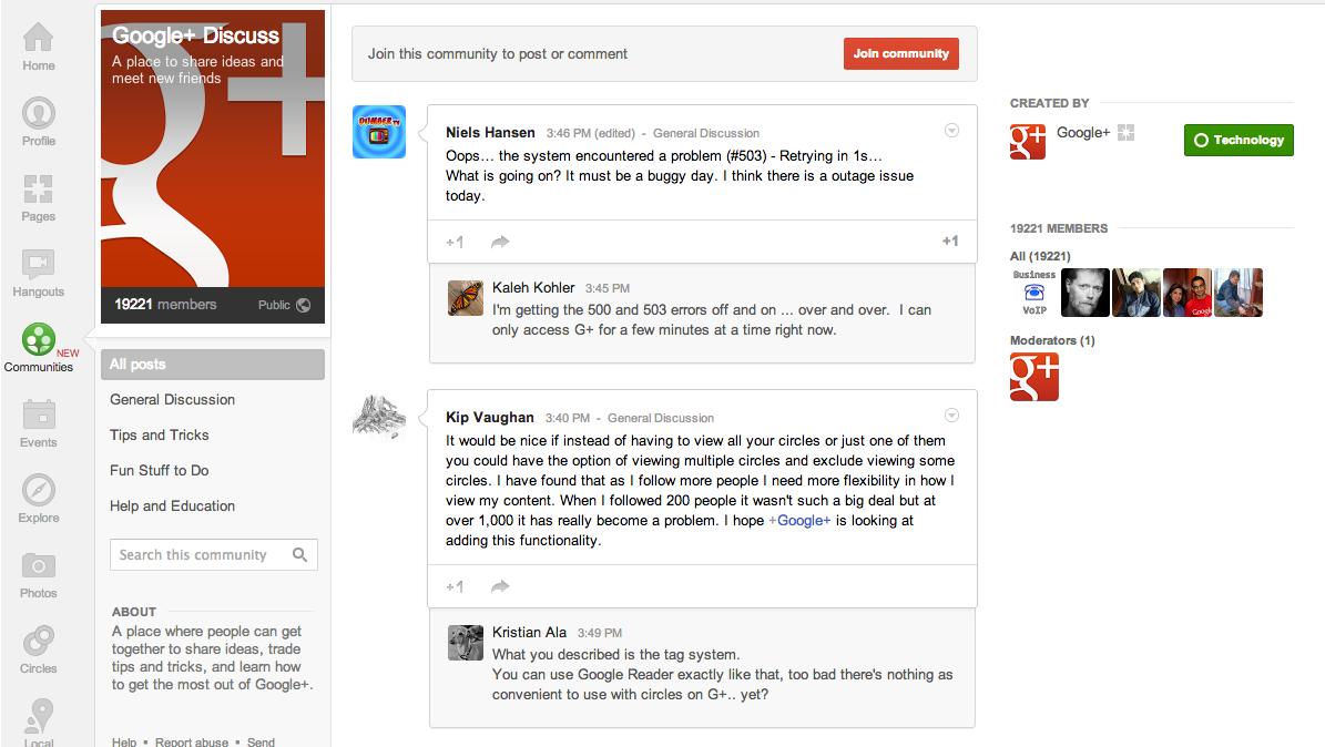 Google Plus Community Page