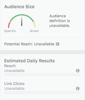 Audience Size and Reach are unavailable